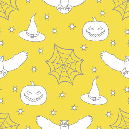 Halloween vector seamless pattern with cobweb, eagle owl, pumpkin, hat, witch, stars. Design for party card, wrapping, fabric, print. Illuminating and Ultimate Gray.