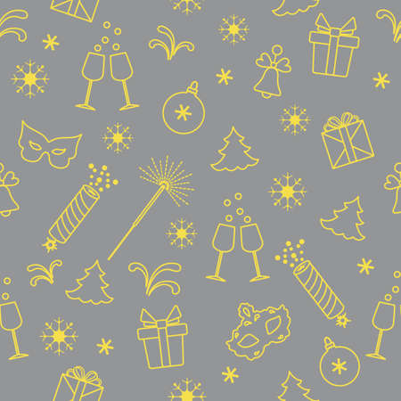 Seamless pattern with new year symbols. Gifts, firecrackers, fireworks, bead, glasses with champagne, bell, christmas tree, mask, calendar, stars, snowflakes. Illuminating and Ultimate Gray.