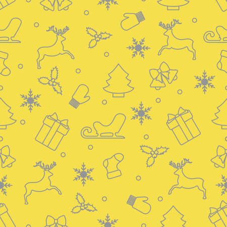 Merry Christmas Happy New Year. Vector seamless pattern with Santa Claus reindeer, gifts, bells, Christmas tree, sock, mistletoe, sled, mittens, snowflakes. Festive background. Design for print. Illuminating and Ultimate Gray. Illusztráció