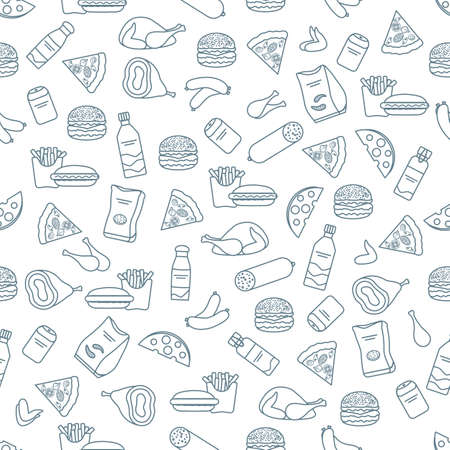 Vector Food Seamless pattern Illustration Cooking Fast food Snack Picnic Harmful eating habits Unhealthy lifestyle Sausage Hamburger Cheese Pizza French fries Chips Hotdog Ham Chicken Design for print