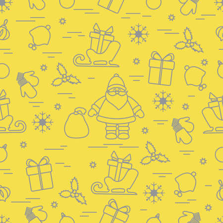 Merry Christmas Happy New Year. Vector seamless pattern Santa Claus, gifts, Christmas tree decorations, mistletoe, sleigh, mittens, baby hat, snowflakes. Festive background. Design for print. Illuminating and Ultimate Gray.