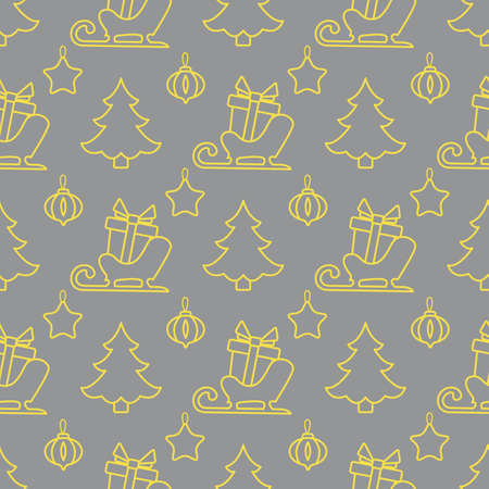 Happy new year, Merry Christmas vector seamless pattern with Christmas tree, Santa's sleigh, gifts, Christmas tree toys. Design for wrapping, fabric, print. Illuminating and Ultimate Gray. Illusztráció