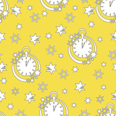 Seamless pattern with clock and stars. Christmas and New Year background. Design for packaging paper, fabric and other print. Illuminating and Ultimate Gray. Illusztráció