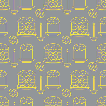 Seamless pattern with Easter cakes, candle, decorated eggs. Happy Easter. Festive background. Design for banner, poster or print. Illuminating and Ultimate Gray.