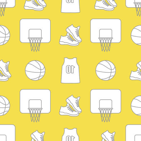 Seamless pattern with basketball basket, ball, sneakers, shirt. Sports background. Basketball equipment. Games, hobbies, entertainment. Illuminating and Ultimate Gray.