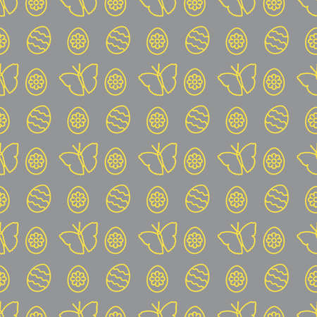 Seamless pattern with Easter eggs, butterflies. Happy Easter. Festive background. Design for banner, poster or print. Illuminating and Ultimate Gray.