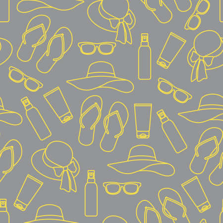 Vector travel seamless pattern Illustration with flip flops, sunscreen, sun hat, sunglasses. Summer time, vacation, holiday, leisure background Concept for travel agency Design wrapping, fabric, print Illuminating and Ultimate Gray.