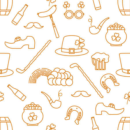 Irish Vector seamless pattern Happy St. Patrick's Day illustration Shamrock Horseshoe Smoking pipe Beer Leprechaun's shoe Sausage Pot of gold Rainbow Mustache Hat, walking stick Holiday Party Festive Illusztráció