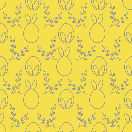 Seamless pattern with Easter Bunny ears, eggs, willow branches. Happy Easter. Festive background. Design for banner, poster or print. Illuminating and Ultimate Gray.