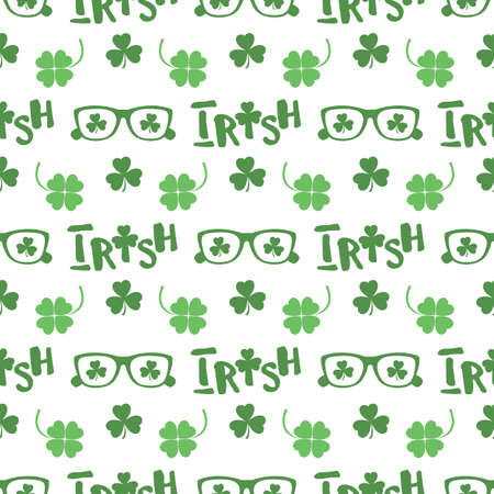 Vector seamless pattern Happy St. Patrick's Day illustration Ireland Shamrock Clover leaf Glasses Lettering Irish Holiday Party Festive Design for greeting card, fabric, print, wrapping paper