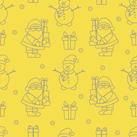 Happy New Year and Christmas seamless pattern. Vector illustration with Santa Claus, snowman, gifts. Design for wrapping, fabric, print. Illuminating and Ultimate Gray. Illusztráció