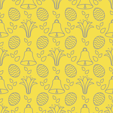 Seamless pattern with bells, lilies, decorated eggs. Happy Easter. Festive background. Design for banner, poster or print. Illuminating and Ultimate Gray.