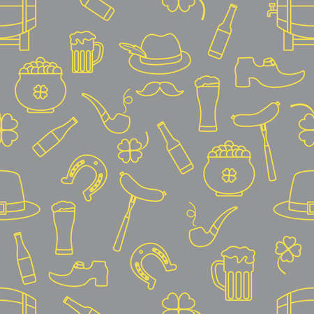 Irish Vector seamless pattern Happy St. Patrick's Day illustration Ireland Shamrock Horseshoe Smoking pipe Beer Leprechaun's shoe Sausage Pot of gold Mustache Hat Holiday Party Festive Design Print Illuminating and Ultimate Gray.