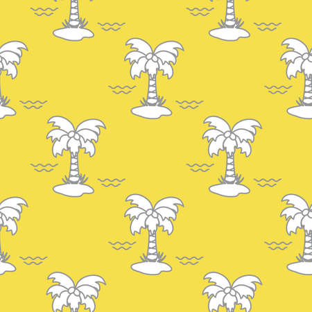 Seamless pattern with palm trees, coconuts and waves. Design for postcard, invitation, banner. Illuminating and Ultimate Gray.