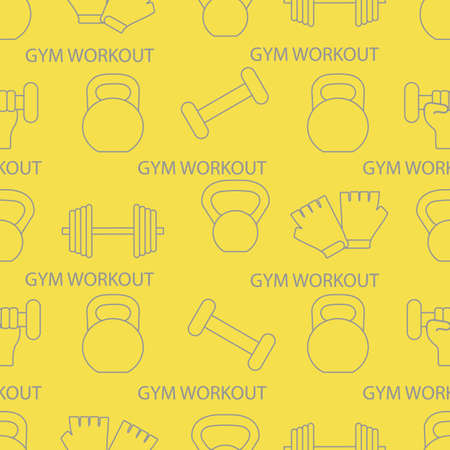 Seamless pattern with dumbbells, gloves, arm with dumbbells. Sports background. Weightlifting equipment. Illuminating and Ultimate Gray. Illusztráció