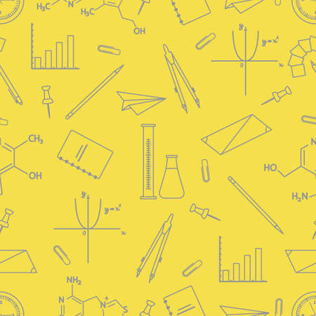 Vector seamless pattern with scientific, education elements: flasks, molecule structure, function graph, pencil, pen, clip, compasses. Design for websites, poster, apps, print. Illuminating and Ultimate Gray.