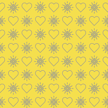 Cute seamless pattern with hearts. Happy Valentine's Day. Romantic background. Design for party card, paper, wrapping, fabric. Illuminating and Ultimate Gray.