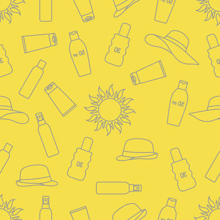 Vector seamless pattern Travel illustration Sun, sun hats, sunscreen cream, lotion, milk Skin protection from solar ultraviolet radiation Summer time, holiday background Design wrapping, fabric, print Illuminating and Ultimate Gray.
