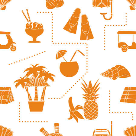 Seamless pattern Travel vector illustration Holiday Vacation Adventure Summer Sea Cruise Tuk-tuk, palm tree, mask, snorkel, flippers, herbal pouches for massage, shell, pineapple, banana, cocktail