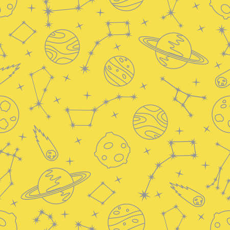 Seamless vector pattern with constellations, planets, Saturn, comet. Space exploration. Astronomy. Science. Design for astronomy apps, websites, print. Illuminating and Ultimate Gray. Illusztráció
