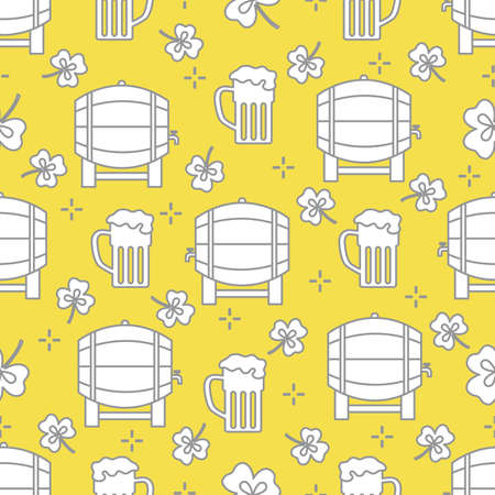 Seamless pattern with clover leaves, beer barrel, beer mug. St. Patrick's Day. Holiday background. Irish vector pattern. Design for banner, poster, textile, print. Illuminating and Ultimate Gray. Illusztráció