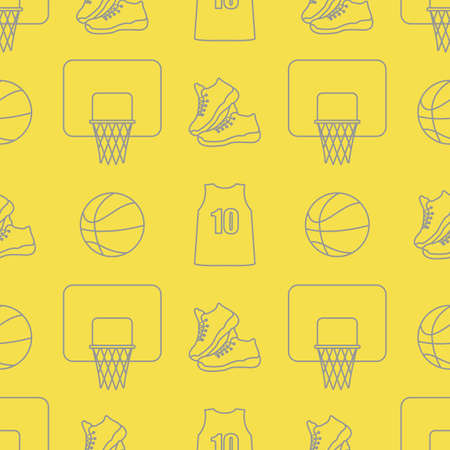Seamless pattern with basketball basket, ball, sneakers, shirt. Sports background. Basketball equipment. Games, hobbies, entertainment. Illuminating and Ultimate Gray. Ilustración de vector