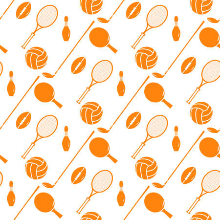 Vector seamless pattern Bowling pin,  tennis racket, football, rugby ball, golf putter Sports theme Game, hobby, entertainment Sports equipment Healthy lifestyle Design for fabric, print Foto de archivo - 168170125