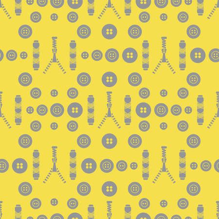 Seamless pattern with zipper, buttons, threads. Sewing and needlework background. Template for design, fabric, print. Illuminating and Ultimate Gray.