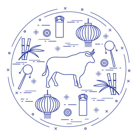 Happy New Year Vector illustration ox, bamboo, Chinese lantern, coin for luck, envelope, rattle drum. Holiday traditions, symbols Chinese New Year celebration. Bull zodiac sign, symbol of 2021 year 일러스트
