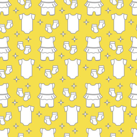 Seamless pattern with baby clothes. Vector illustration with slip, socks, bodysuit. Newborn baby background. Illuminating and Ultimate Gray.