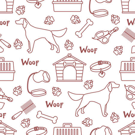 Vector seamless pattern illustration Dog, doghouse, paw tracks, bone, collar, comb, scissors, carrying, leash Woof. Animal background Pet shop, vet clinic, shelter concept Design for fabric, print 일러스트