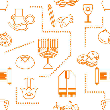 Vector Seamless pattern Illustration Jewish holiday Traditional symbols Torah scroll, oil jar, pomegranate Amulet hamsa, menorah, kippah, tefillin, Talith, Dreidel, Fish, donuts Festive design Print 일러스트