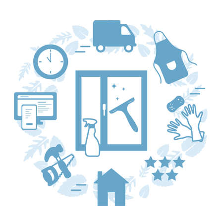 Vector Illustration Professional Quality Cleaning service. Find and order scrubwoman through internet. Housekeeping. Household chores concept. House cleaning. Washing windows. Design for web, print