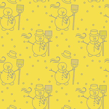 Seamless pattern with snowman, broom, hat, wind, snow. Funny pattern on a winter theme. Illuminating and Ultimate Gray.