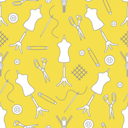 Vector seamless pattern Mannequin, scissors, needle, pin, buttons, zipper on white background. Dressmaking tools. Tailor. Atelier tailoring Sewing workshop equipment Design for wrapping, fabric, print Illuminating and Ultimate Gray.