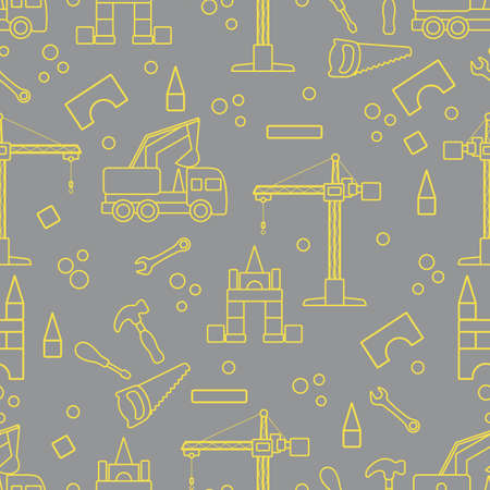 Vector seamless pattern with kid toys. Excavator, crane, toy tools, saw, hammer, wrench, screwdriver. Primary school, elementary grade, kindergarten. Happy childhood activity Design for textile, print Illuminating and Ultimate Gray. 일러스트