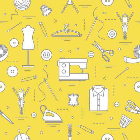 Seamless pattern with tools and accessories for sewing. Template for design, fabric, print. Illuminating and Ultimate Gray.