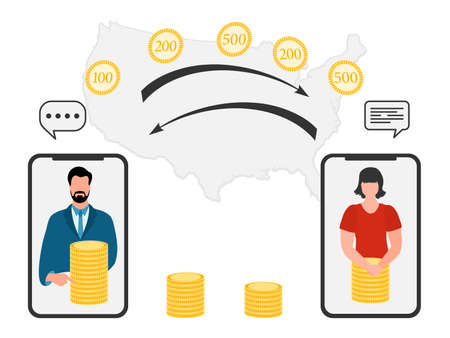 Vector illustration Mobile money transfer Online around the world Financial operations in online banking. People sending money from smartphone. Financial symbols. Map of United States Design for web