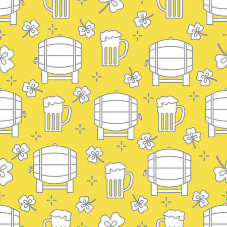 Seamless pattern with clover leaves, beer barrel, beer mug. St. Patrick's Day. Holiday background. Irish vector pattern. Design for banner, poster, textile, print. Illuminating and Ultimate Gray. 일러스트