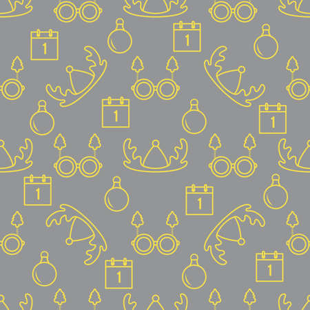 Happy new year, Merry Christmas vector seamless pattern with deer horns, Christmas ball, calendar, glasses with Christmas trees. Masquerade Party Background. Design for wrapping, fabric, print. Illuminating and Ultimate Gray. 일러스트