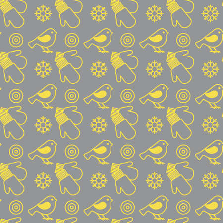 Vector winter seamless pattern with snowflakes, birds, mittens. Christmas and New Year background. Design for wrapping, fabric, print. Illuminating and Ultimate Gray.