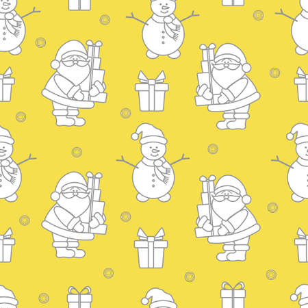 Happy New Year and Christmas seamless pattern. Vector illustration with Santa Claus, snowman, gifts. Design for wrapping, fabric, print. Illuminating and Ultimate Gray. 일러스트