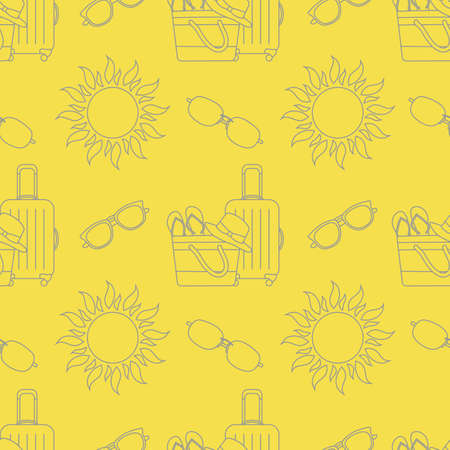 Vector travel seamless pattern Illustration with suitcase, beach bag, flip flops, sun, sun hat, sunglasses. Summer time, vacation, holiday, leisure background. Design wrapping, fabric, print Illuminating and Ultimate Gray.