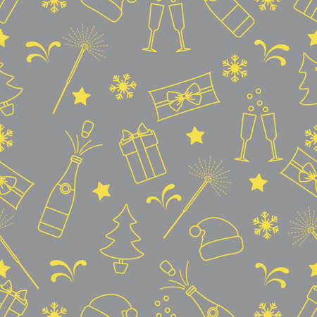 Merry Christmas Happy New Year Vector seamless pattern. Gifts, Santa Claus hat, sparkler, bottle, glasses, Christmas tree, snowflakes. Festive background. Design for fabric, print, wrapping paper Illuminating and Ultimate Gray.