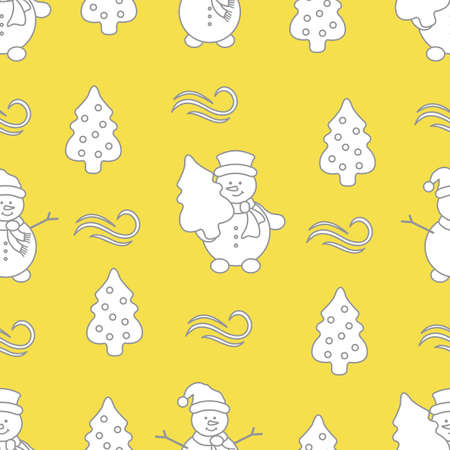 Happy New Year and Christmas seamless pattern. Vector illustration with snowman and Christmas tree. Design for wrapping, fabric, print. Illuminating and Ultimate Gray.