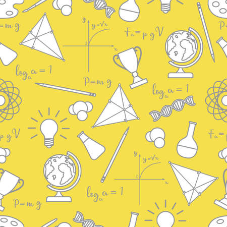 Vector seamless pattern with scientific, education elements: globe, formulas, flasks, molecules, atom, DNA, function graph, pencil, triangle. Design for websites, poster, apps, print. Illuminating and Ultimate Gray.