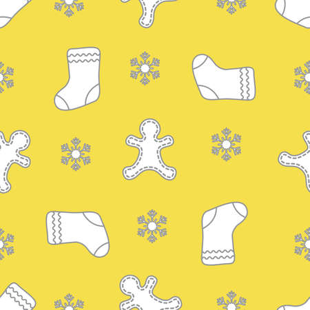 Seamless pattern with gingerbread man, christmas socks, snowflakes. Christmas and New Year background. Design for packaging paper, fabric and other print. Illuminating and Ultimate Gray.
