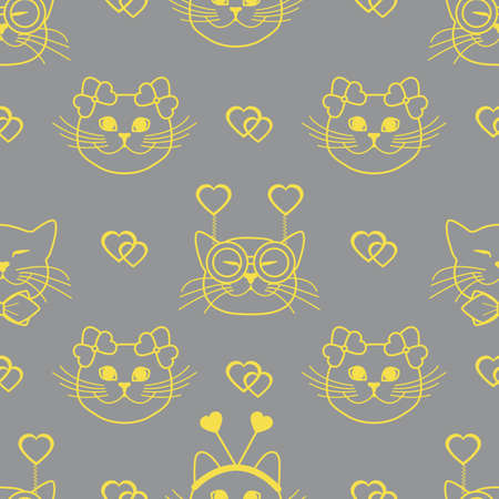 Seamless pattern with muzzle of cats in carnival masks, glasses, tie, bows, headbands and hearts. Greeting card happy Valentine's Day. Romantic background. Carnival festive concept. Illuminating and Ultimate Gray. 일러스트