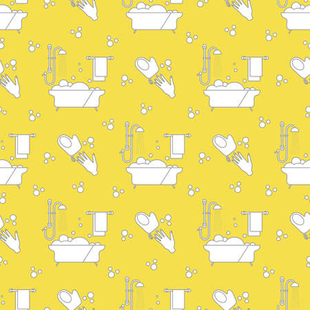 Vector seamless pattern Bath, shower, washcloth, hand, bubbles, towel, hanger on white background. Bathtub. Bathroom set, washing, bathing, cleanliness background. Design for wrapping, fabric, print Illuminating and Ultimate Gray.