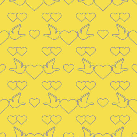 Vector seamless pattern Couple of pigeon with heart. Valentine's day, wedding, Birthday, Mother's day, Father's day Romantic background Flying dove bird Love concept Design for wrapping, fabric, print Illuminating and Ultimate Gray.